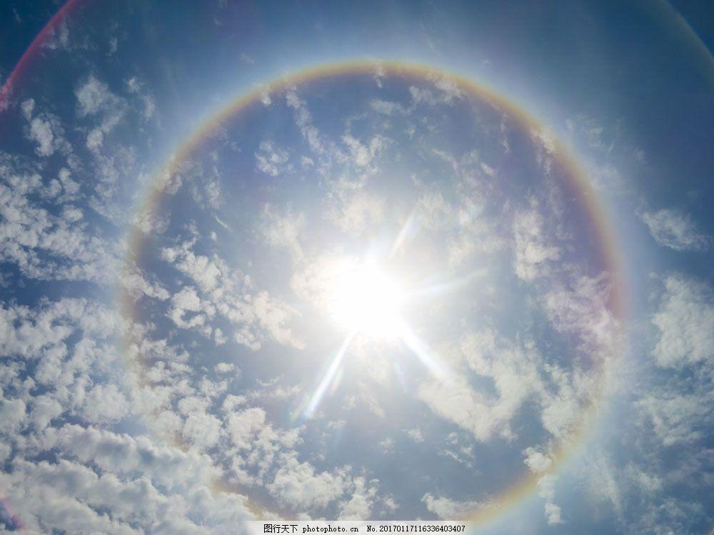天空中的圆形彩虹图片素材 美丽彩虹 七彩虹 雨后彩虹 彩虹风景 美丽