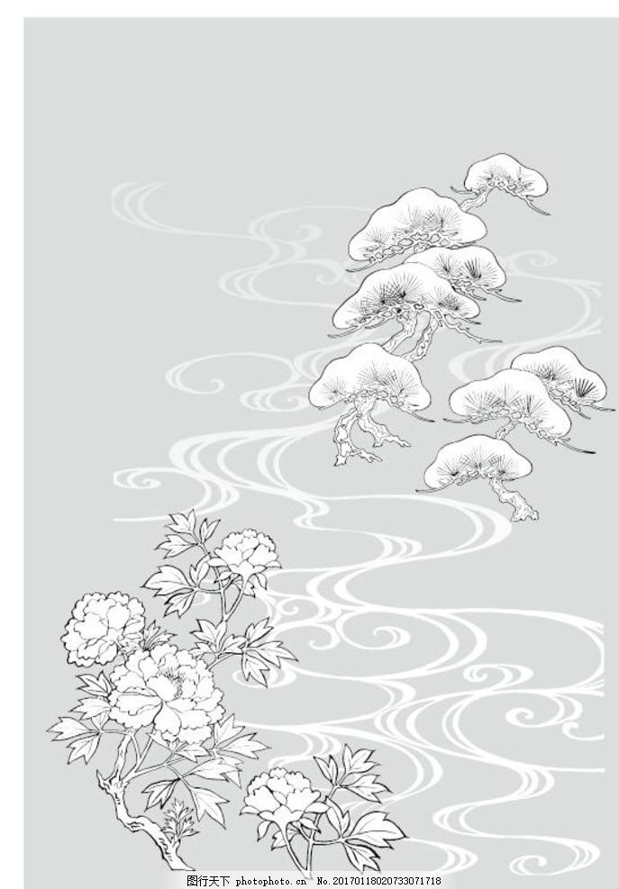 墙贴用图 硅藻泥矢量图 矢量图 花草树木矢量 设计 底纹边框 移门图案