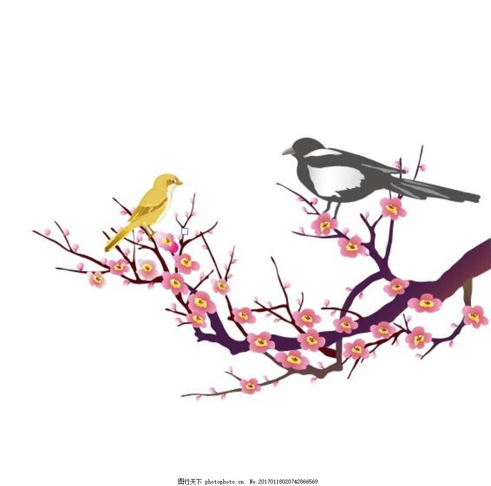 喜鹊矢量图 喜上眉梢 梅花 墙贴 刻绘图 线条图 广告设计素材