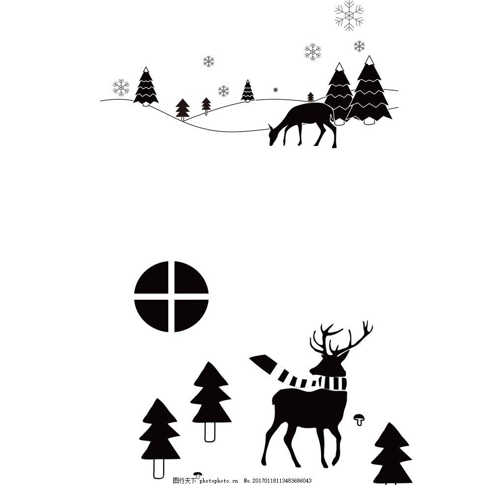 矢量麋鹿 森林 黑白卡通 冬天