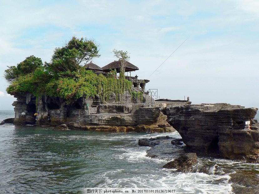 印度尼西亚 巴厘岛 寺 海神庙 佛教 体系结构 红色