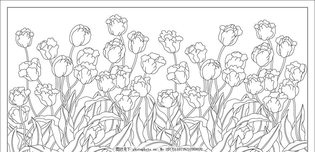 郁金香矢量花纹背景图案装饰画 欧式花纹 花纹底纹 中式花纹 装饰图案