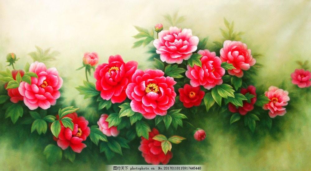牡丹花油画图片素材 无框画 装饰画 挂画 壁画 油画 油画写生 风景