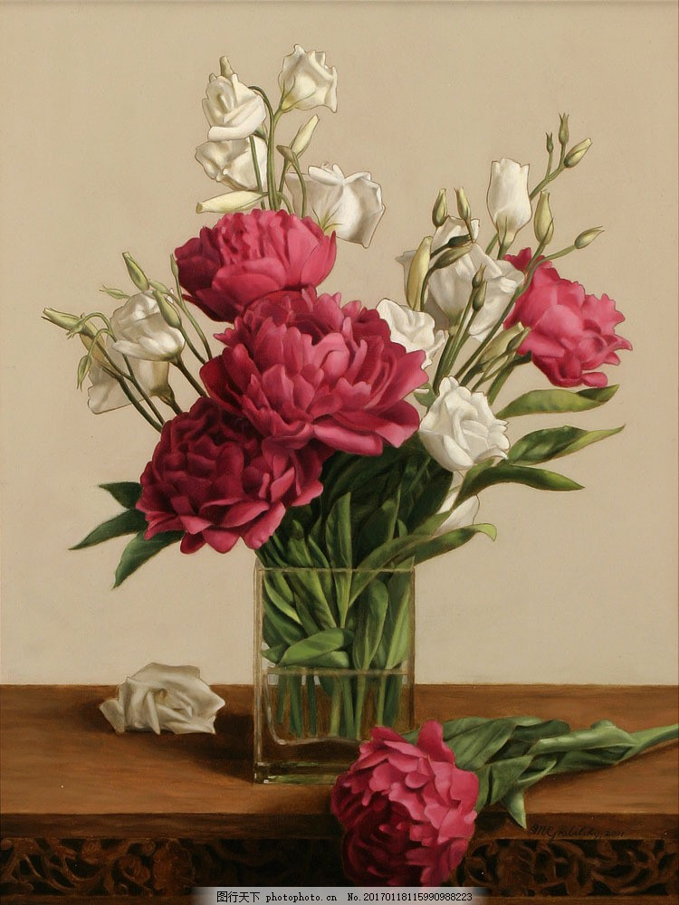美丽鲜花花瓶静物油画 美丽鲜花花瓶静物油画图片素材 油画花朵 鲜花