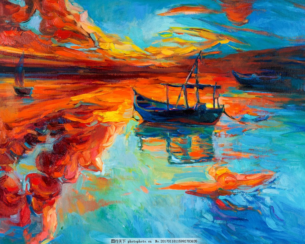 海面风景抽象油画图片素材 抽象画 帆船 大海风景 黄昏风景油画 风景