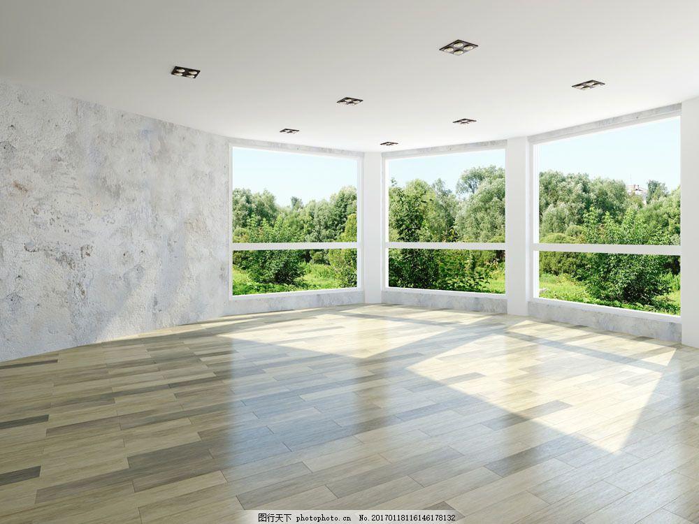 窗户外的树木图片素材 窗户 地板 树木 室内设计 装修 装饰 室内设计