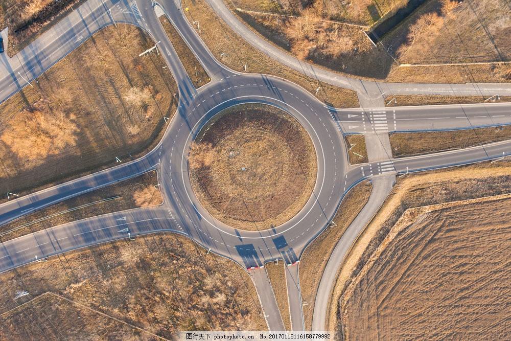 航拍公路环岛 航拍公路环岛图片素材 道路 交通 城市 城市风光