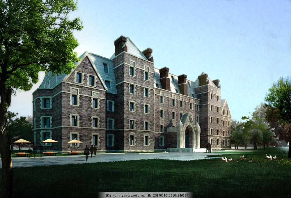 欧式庄园建筑效果 欧式庄园建筑效果图片素材 欧式庄园建筑设计 透视