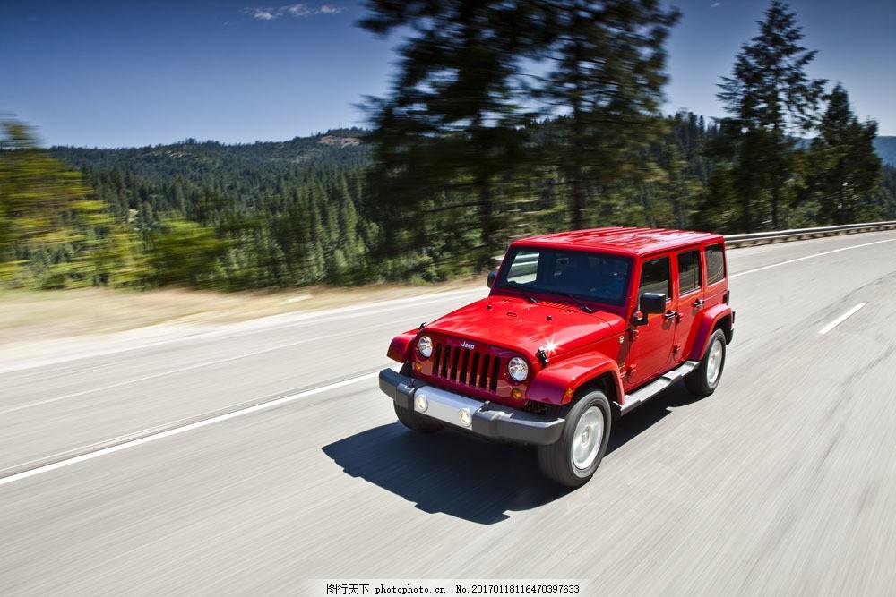 红色越野车图片素材 轿车 汽车 工业生产 小车 交通工具 品牌轿车