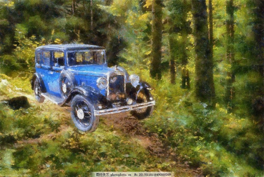树林里的汽车风景 树林里的汽车风景图片素材 树林风景 轿车 交通工具