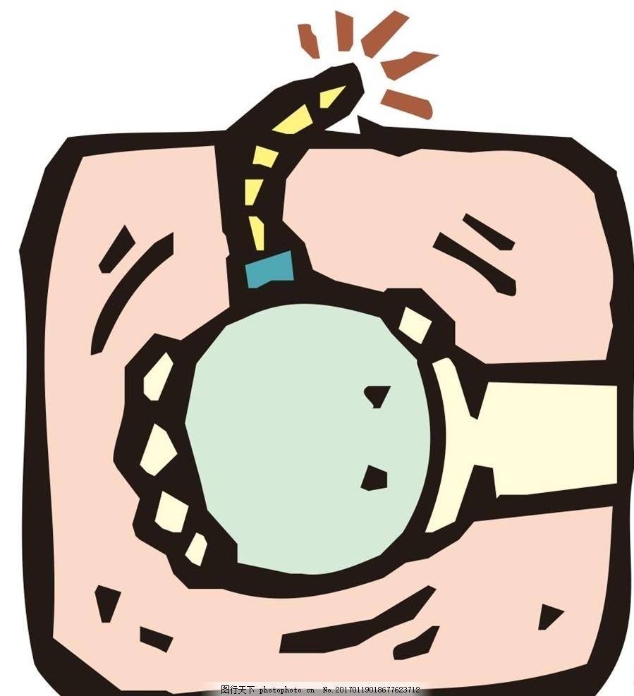 卡通漫画 手雷 炸弹 炸药 简笔画 线条 线描 简画 黑白画 卡通 手绘