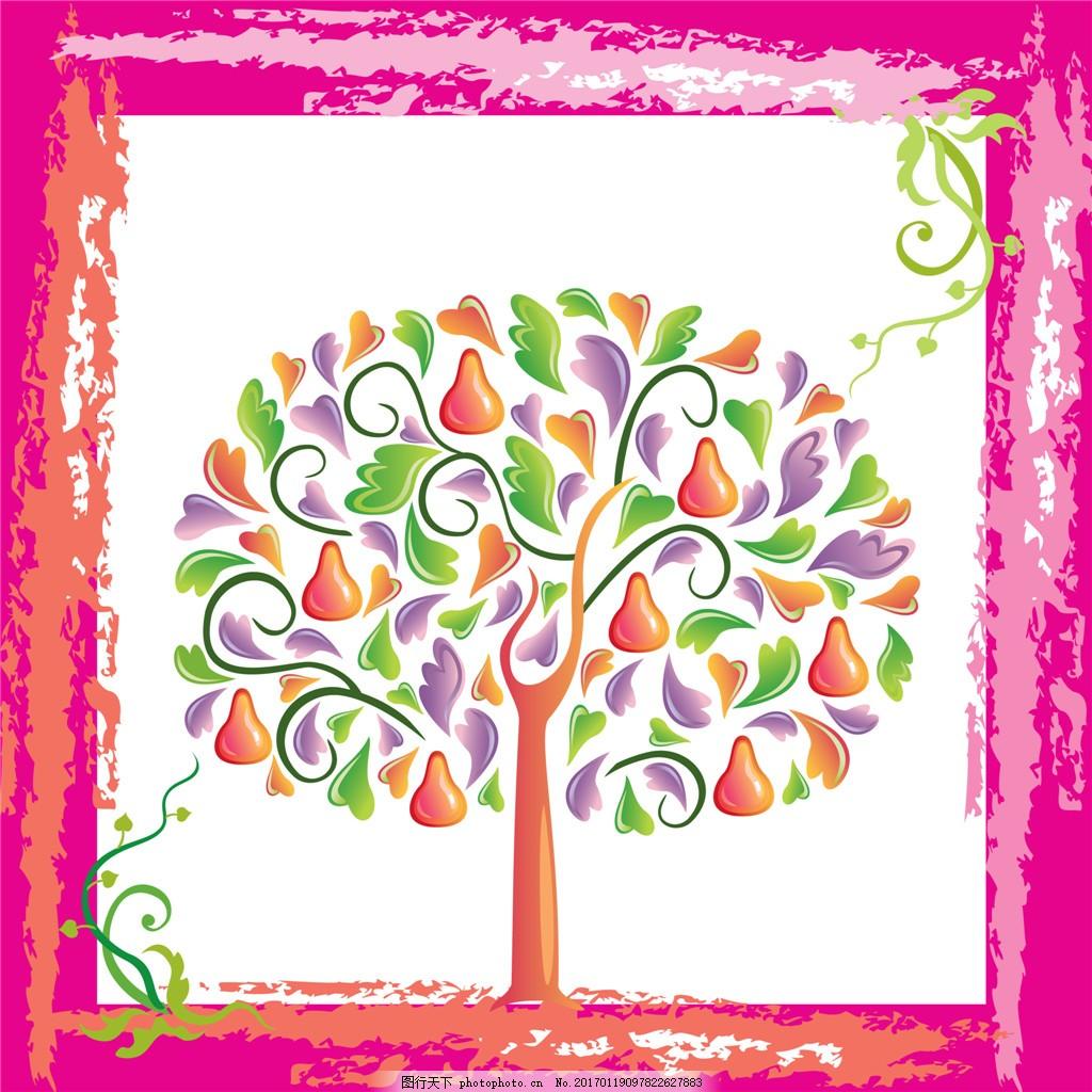 枚红色画框爱心葫芦树装饰画 枚红色 画框 爱心 葫芦树 藤蔓 装饰画