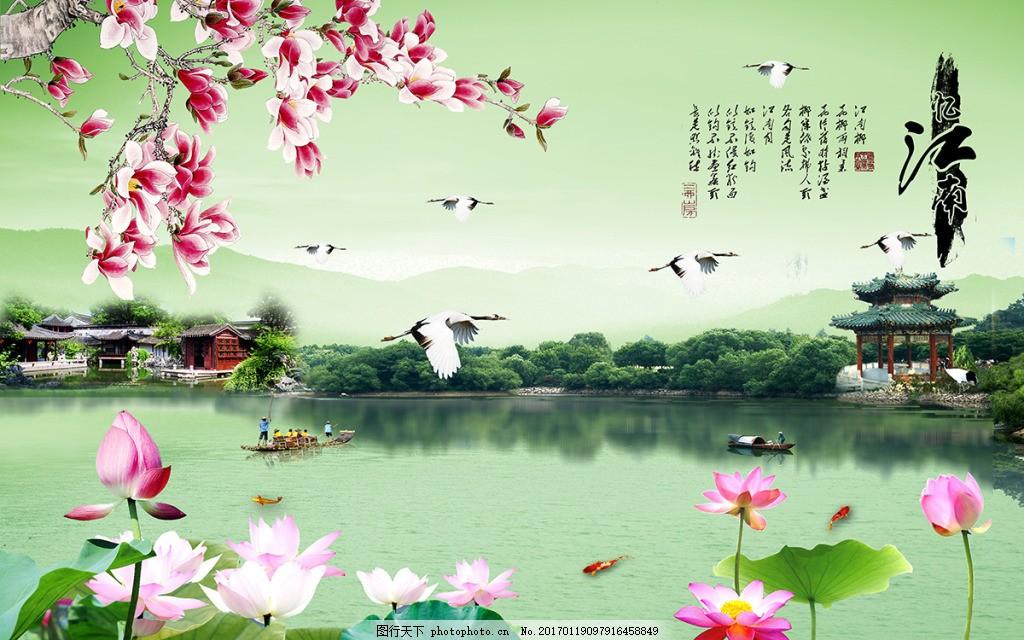 江南风景背景墙,壁纸 高分辨率图片 高清大图 建筑-图
