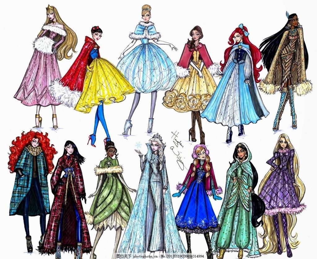 迪士尼公主 迪士尼 公主 服装设计 时装画 服装效果图 设计 广告设计