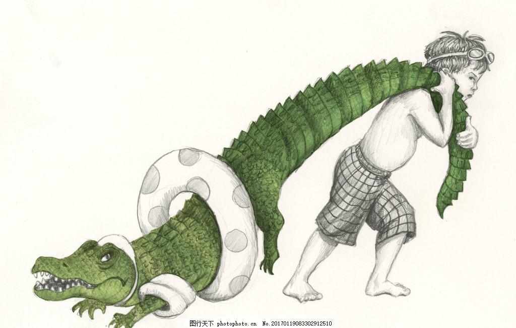 可爱鳄鱼 鳄鱼 卡通鳄鱼 卡通 设计 鳄鱼插画 小鳄鱼 冷血动物 爬行