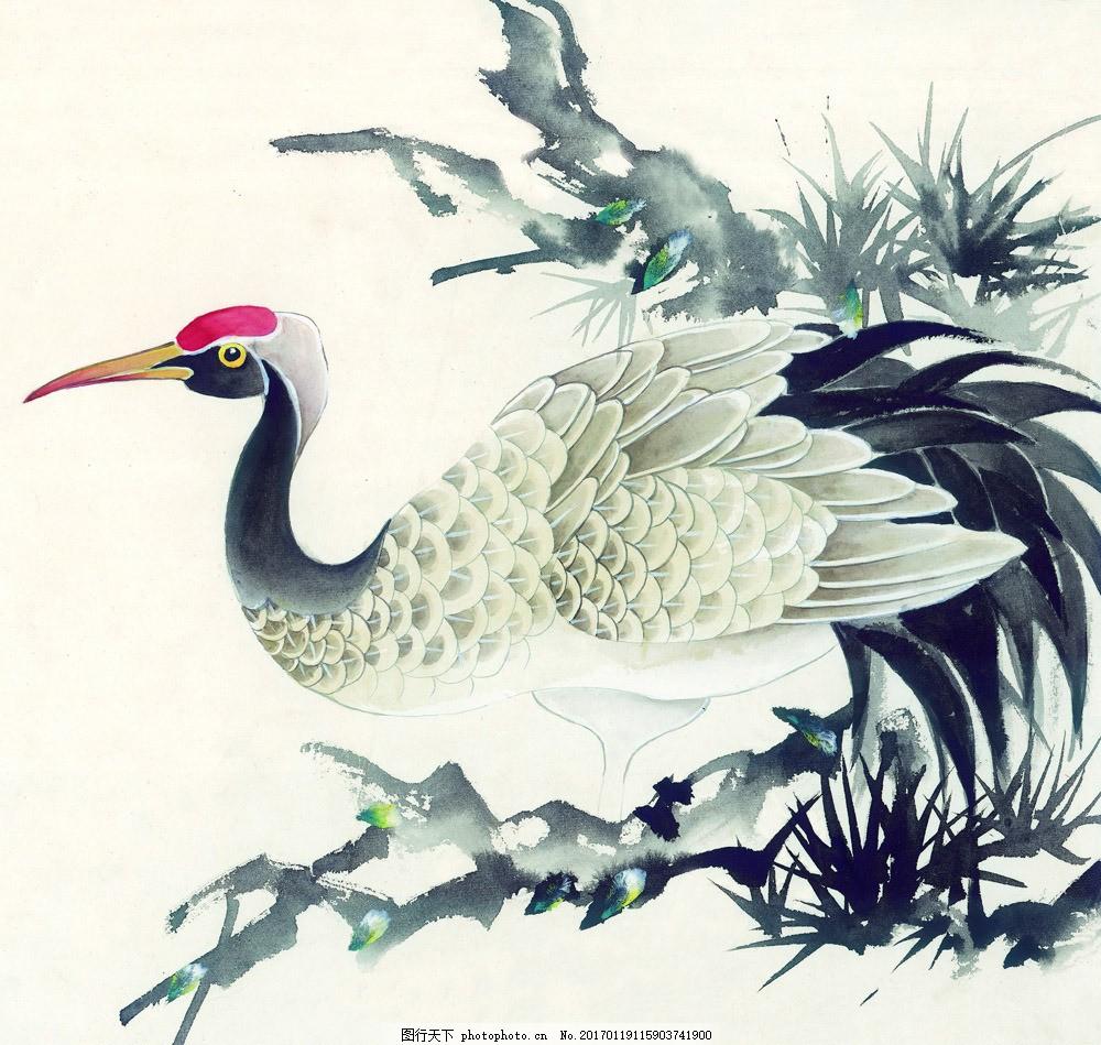 国画仙鹤图片素材 水墨画 名画 仙鹤 风景写意画 国画 中国画 绘画