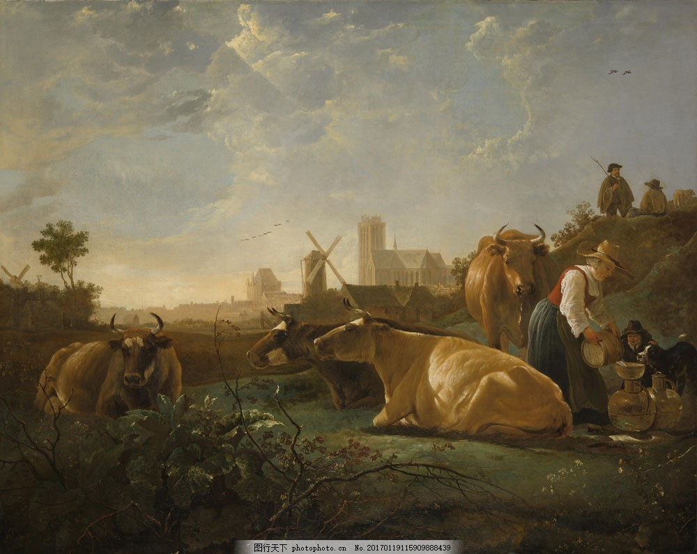 油画 绘画艺术 油画写生 乡村风景 牛 油画风景写生 风景油画 装饰画