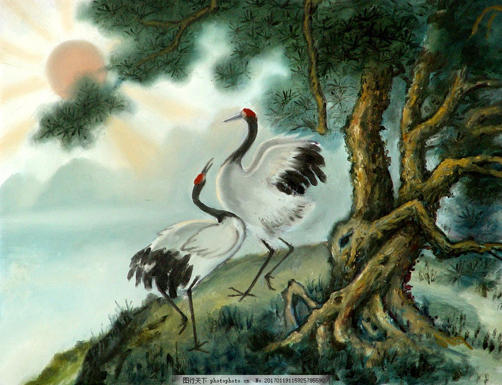 油画 油画写生 风景油画 风景写生 绘画艺术 装饰画 仙鹤 书画文字 文