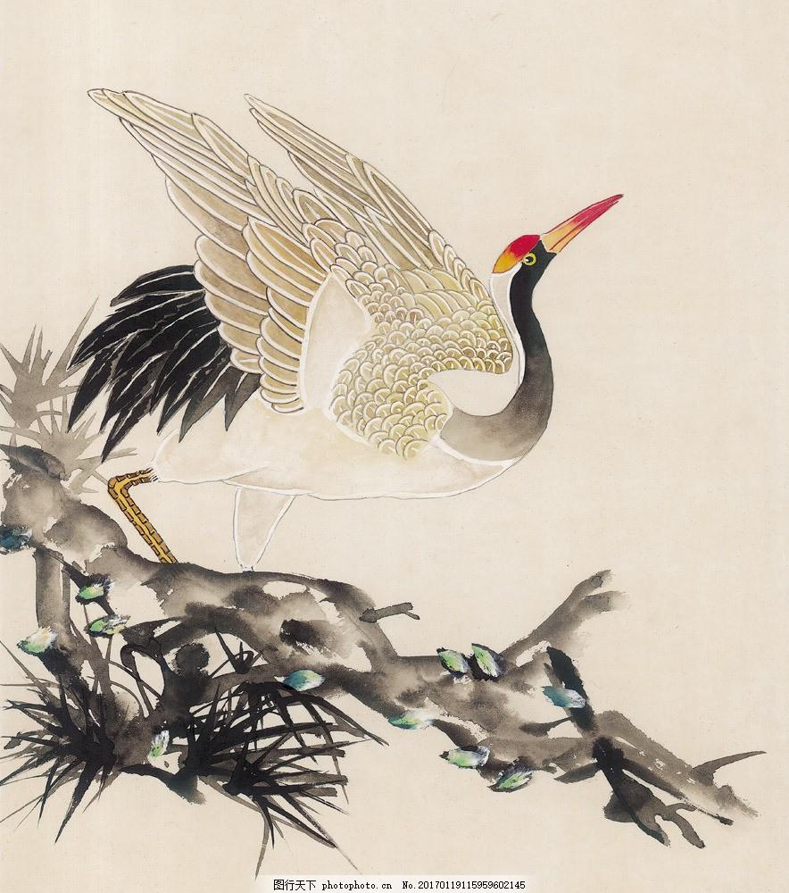水墨仙鹤 水墨仙鹤图片素材 水墨画 名画 国画 中国画 绘画艺术
