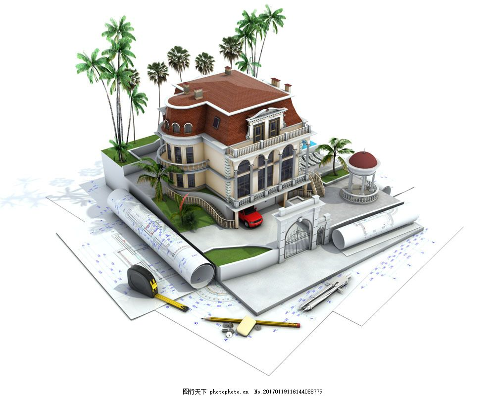 图纸上的别墅模型图片