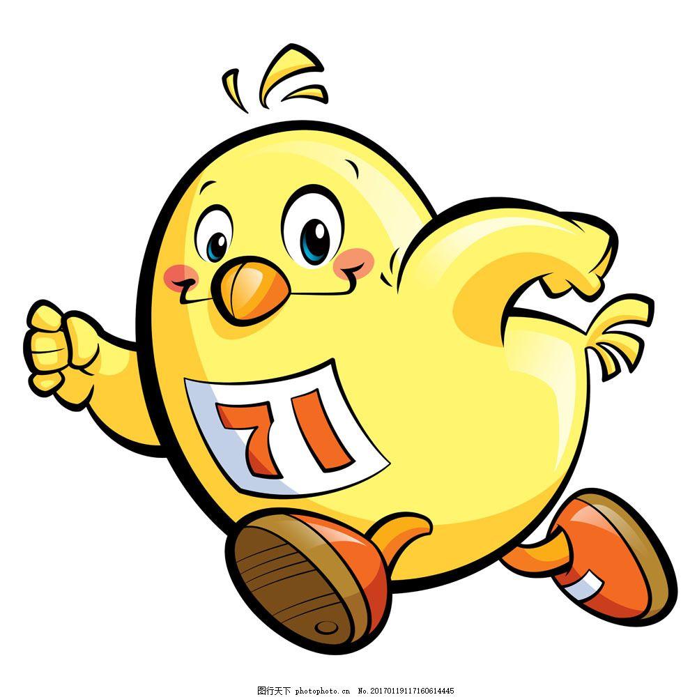 跑步的卡通小鸡图片素材 小鸡 卡通动物 家禽 跑步 运动 其他类别