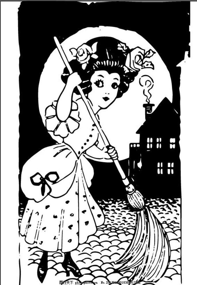 打扫房子装饰画 黑白装饰画 打扫房子 拖地 扫地 日本元素 日本插画