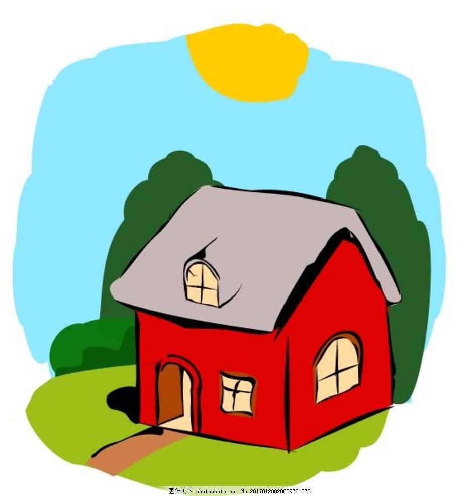 童话般的房子 可爱 建筑 卡通画 房子 平房 蜡笔画 儿童画 卡通 涂鸦