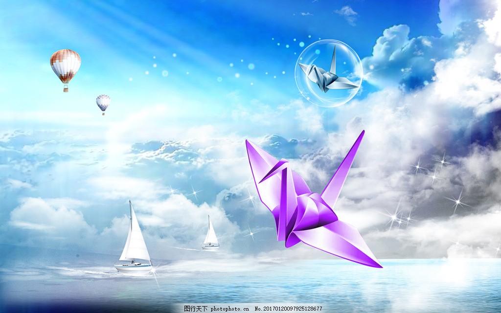 天空纸飞机装饰画 背景 壁纸 风景 高分辨率图片 高清大图 建筑