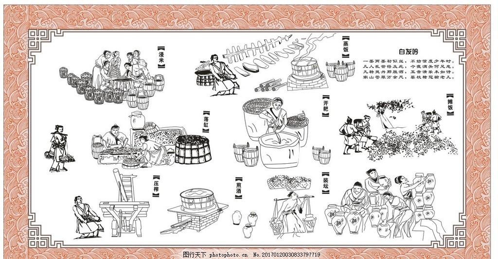 白酒酿酒 工艺古法酿酒 古代人酿酒 古代酒坊 酿酒坊 古代人物 手绘