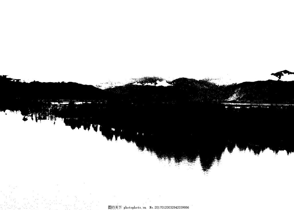 山水剪影 山水 剪影 黑白 风景 飞白 水墨素材 设计 psd分层素材 风景