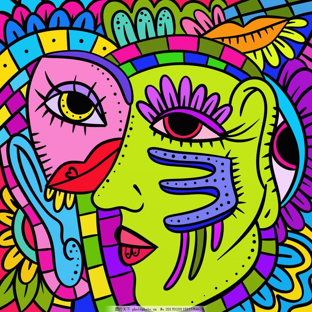 卡通美女抽象画 卡通美女抽象画图片素材 眼睛 装饰画 女性插画