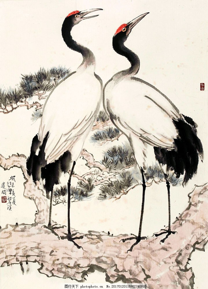 水墨仙鹤松树图片素材 中国画 国画 绘画艺术 装饰画 松树 仙鹤 书画