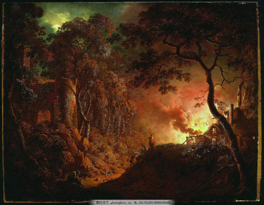 夜晚起火的森林风景画图片