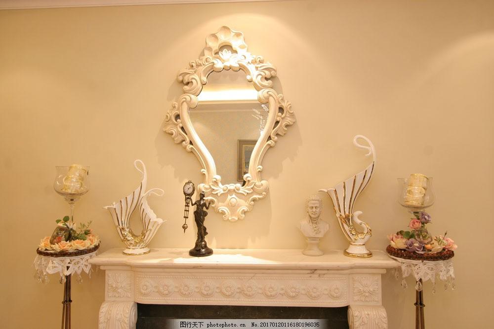 欧式镜子壁炉图片