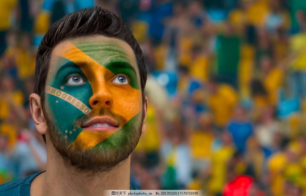 画着彩妆的外国球迷 画着彩妆的外国球迷图片素材 世界杯 足球场
