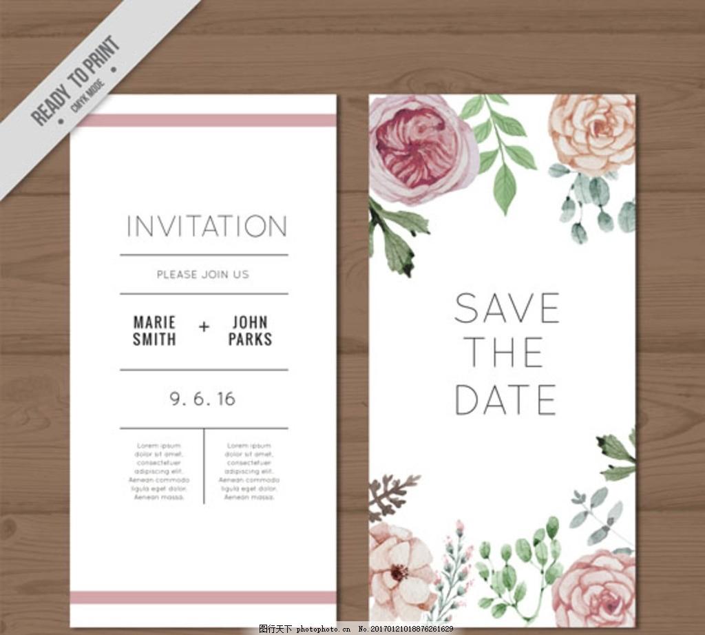 手绘水彩玫瑰婚礼邀请卡