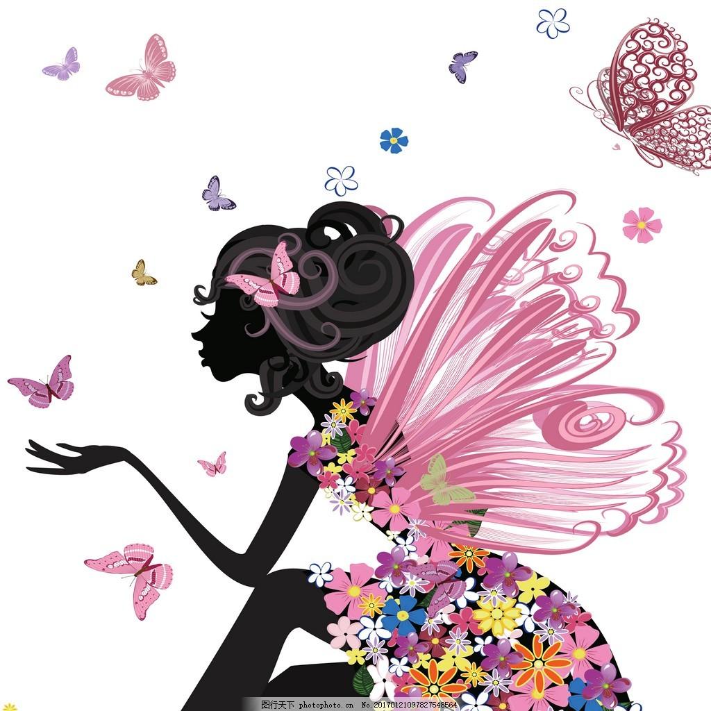 蝴蝶美女剪影装饰画 女人背景素材 壁画 插画 抽象 抽象花 抽象画