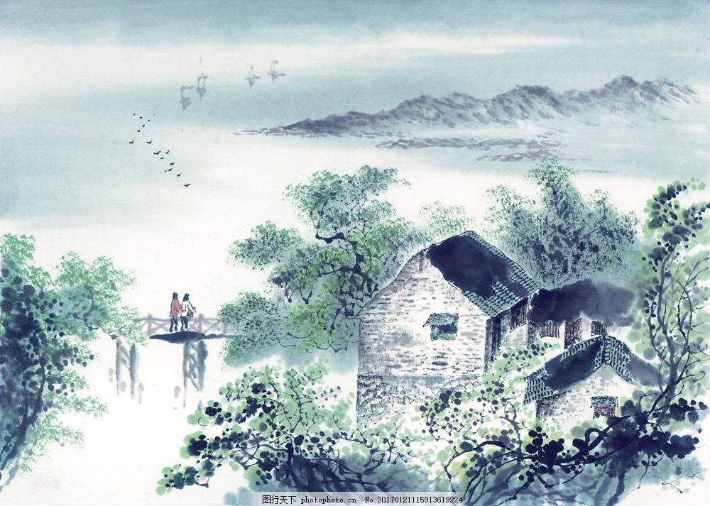 乡村田园风光插画图片素材 国画 油画 装饰画 无框画 手绘 素描 插画