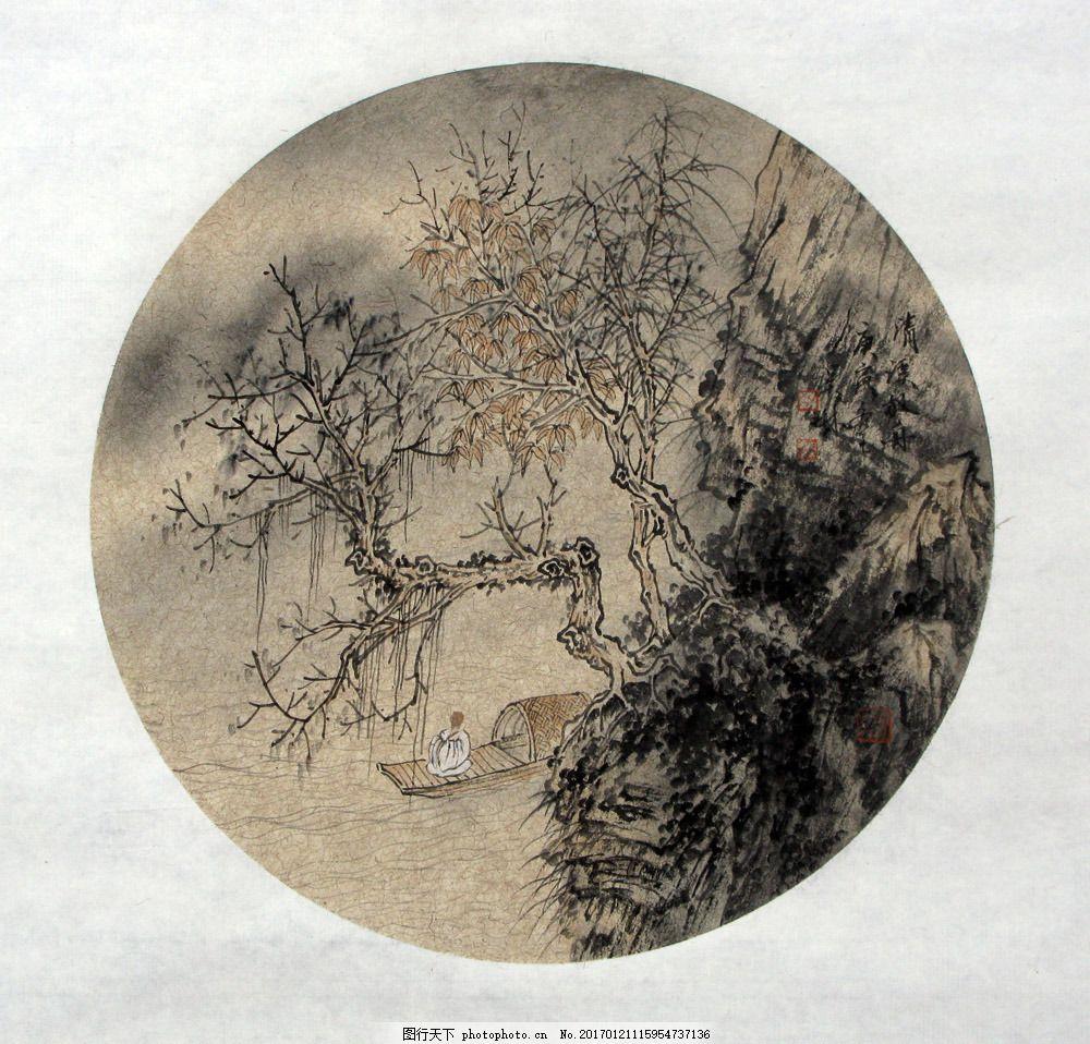 圆形风景装饰画图片素材 水墨画 名画 水墨花卉植物 国画 中国画 绘画