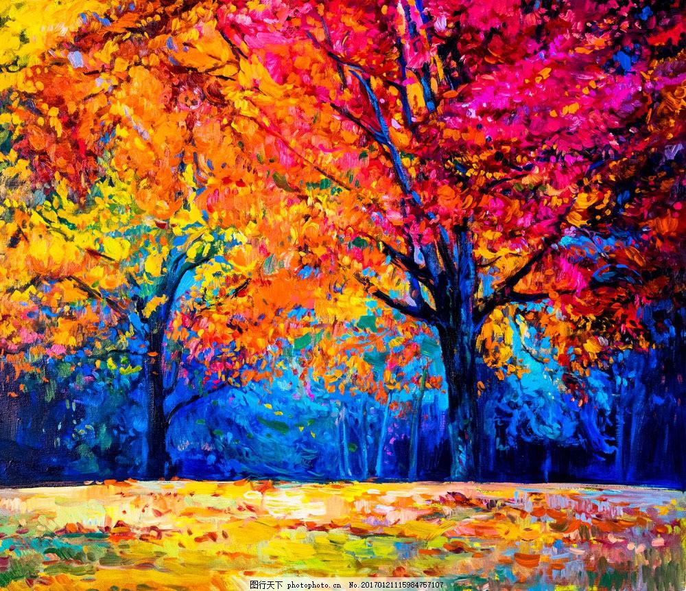 秋季风景 树林风景油画 树木油画 油画风景 风景插画 风景插画 水彩