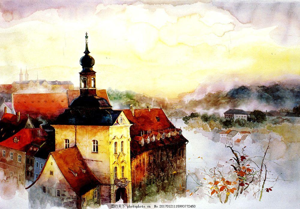 欧式建筑物油画图片
