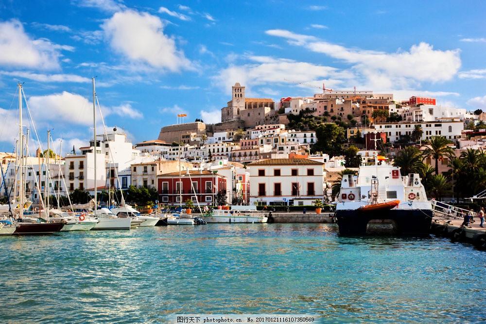 海边城市风景 海边城市风景图片素材 国外建筑 河边建筑 船 河流