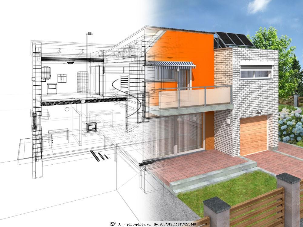 手绘别墅模型 手绘别墅模型图片素材 彩色 房屋 建筑设计 环境家居