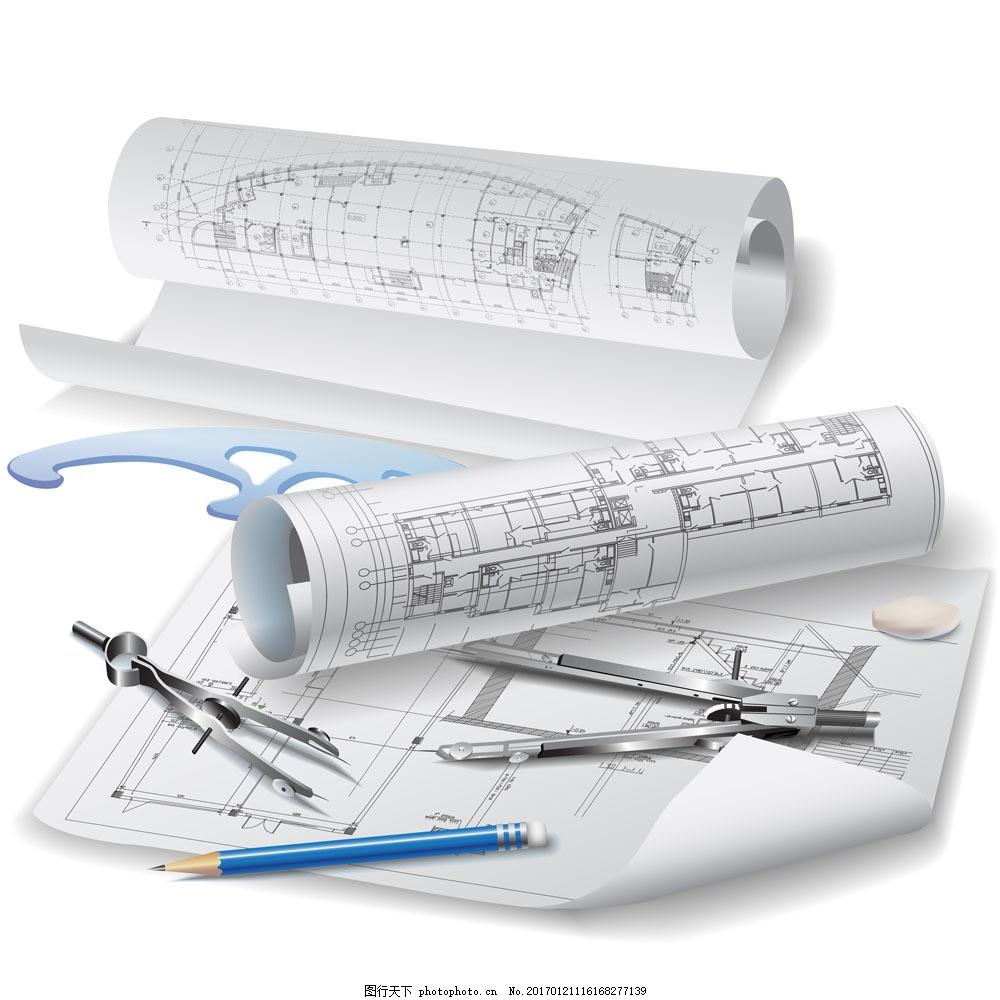 画图工具与图纸图片素材 图纸 工具 圆规 纸 建筑设计 建筑设计 环境