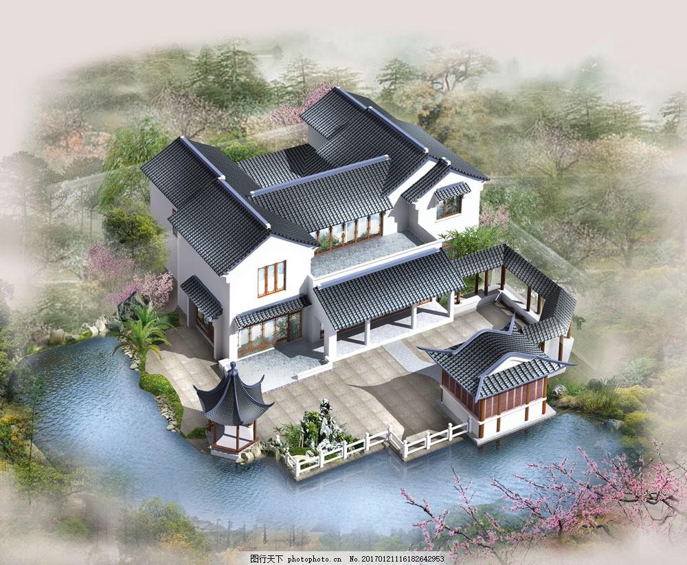 中国古典建筑 鸟瞰图 园林景观 园艺设计 建筑设计3d效果图 园林景观