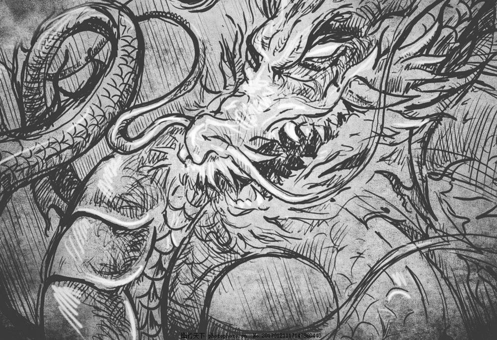 中国龙插画 中国龙插画图片素材 龙图腾 素描插画 创意插画 纹身图案