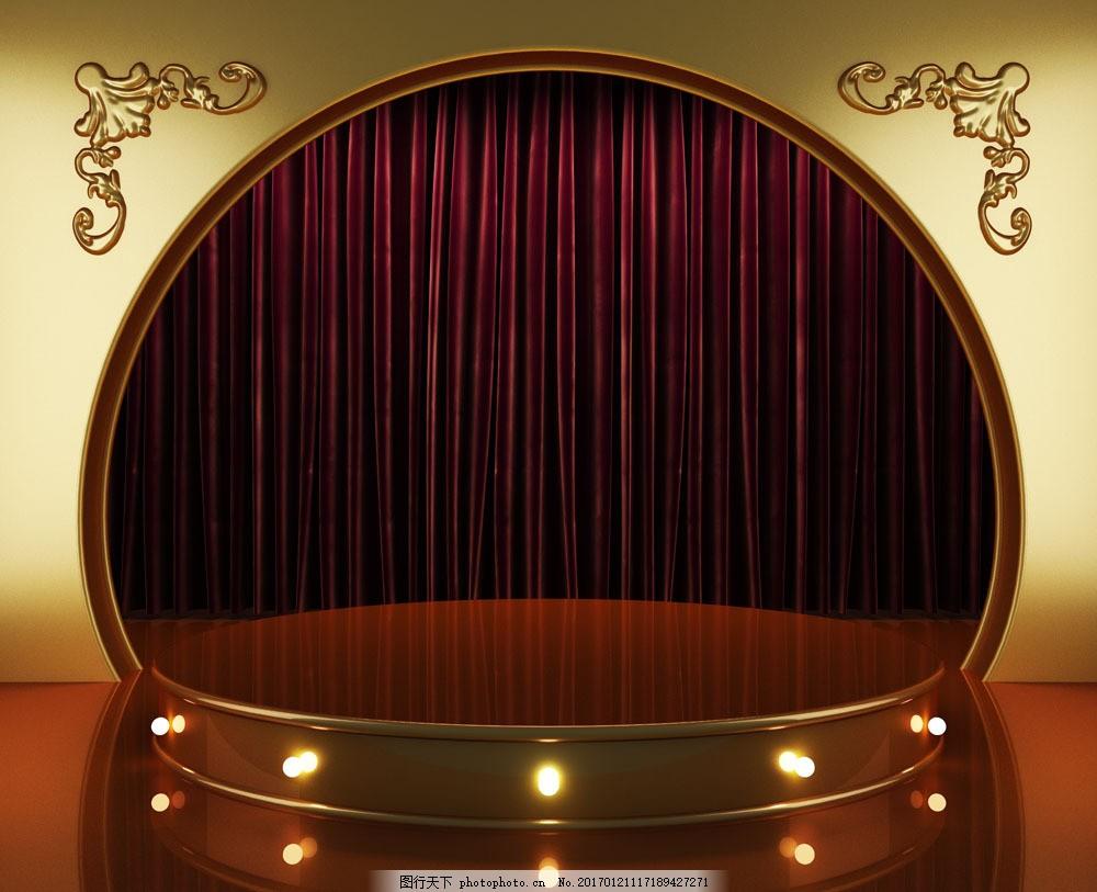 金色华丽舞台背景 金色华丽舞台背景图片素材 金色舞台 幕布 帷幕