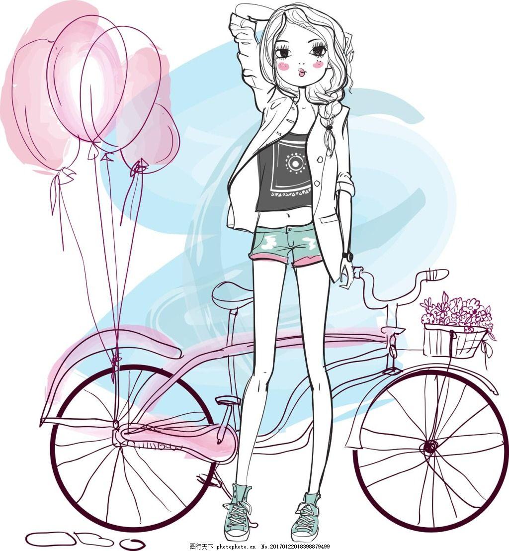 插画女生 人物 手绘 自行车