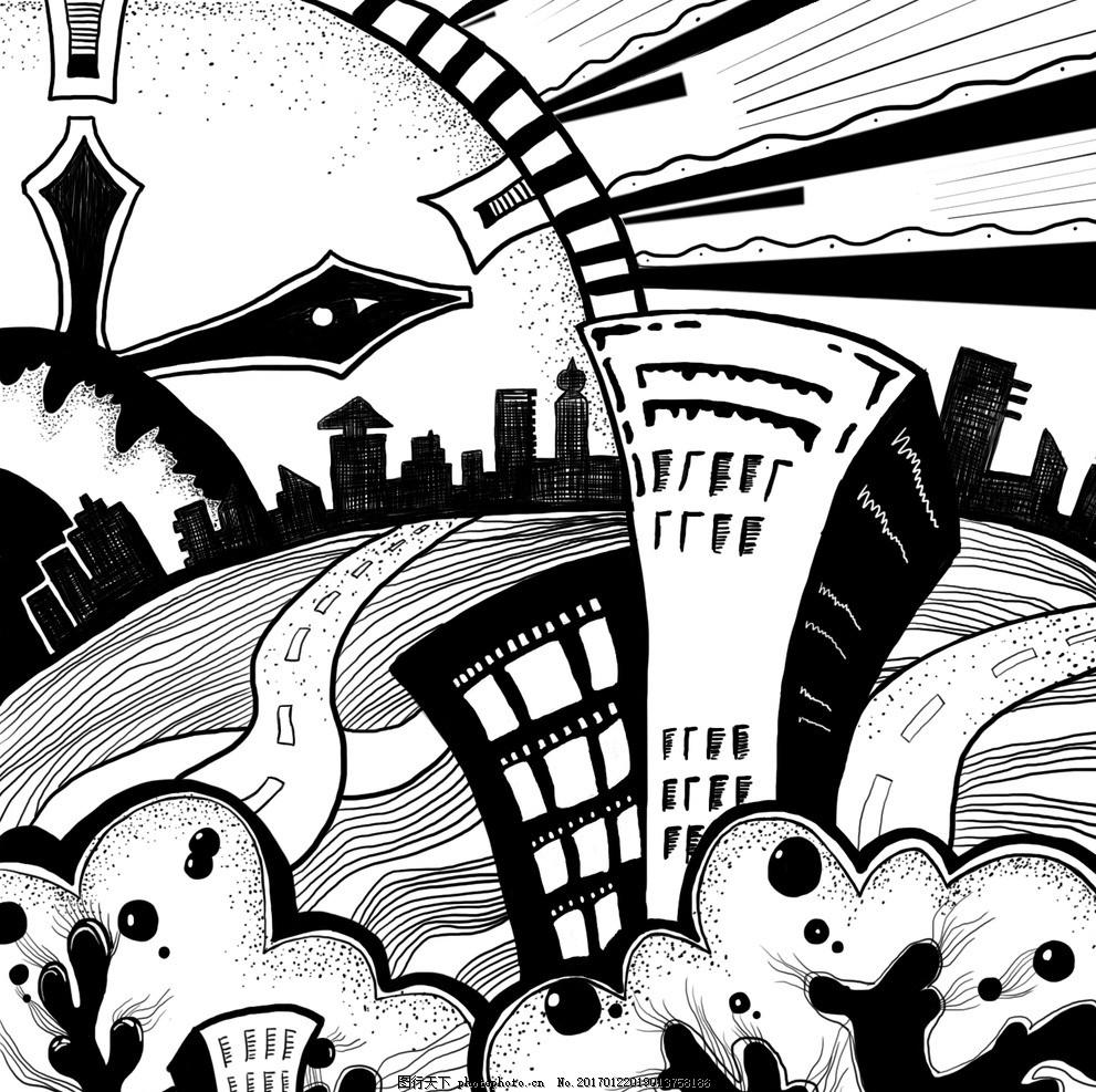 未来世界 插画 黑白图 手绘 漫画 卡通