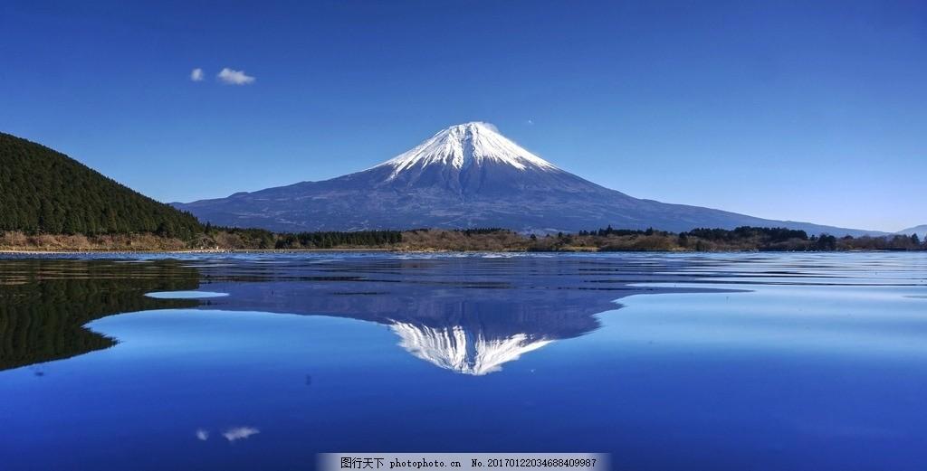 富士山 雪山 倒影 水面 高清 攝影 攝影 自然景觀 風景名勝 300dpi